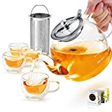 Glass Teapot Set, 40 oz./ 1200 ml Tea Set with 4 Double-Wall Glass Teacups, TeaPot with Removable Stainless Steel Strainer for Loose, Flower Tea, Scale line Borosilicate Glass Teapot for Stovetop Safe