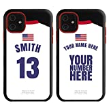 Custom USA Flag Soccer Jersey Cases for iPhone 11 by Guard Dog - Personalized Sports - Your Name and Number on a Phone Case. (Black, Red)