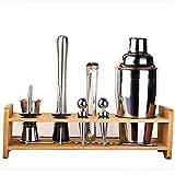 Bartender Tools Set de barra de acero inoxidable con soporte de bambú Coctelera americana con accesorios de barra Adecuado para principiantes y bartenders Set de preparación de cócteles Fiestas al ai