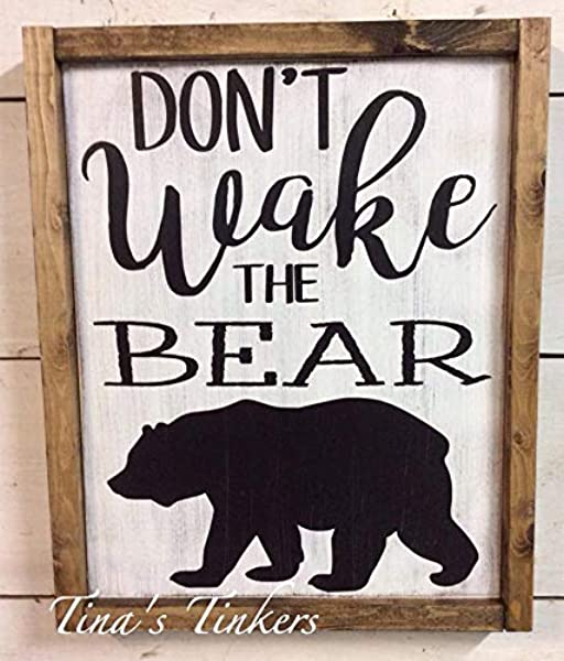 CELYCASY Don T Wake The Bear Woodland Nursery Decor Rustic Painted Wood Sign With Frame Bear Outdoorsman Hunting Nursery