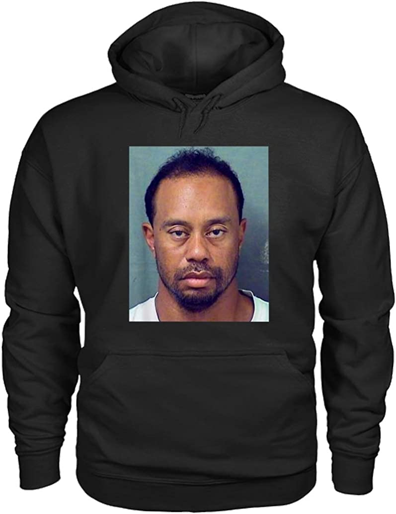 Amazon.com: Mugshot Funny Gift Tiger Woods Hoodie: Clothing
