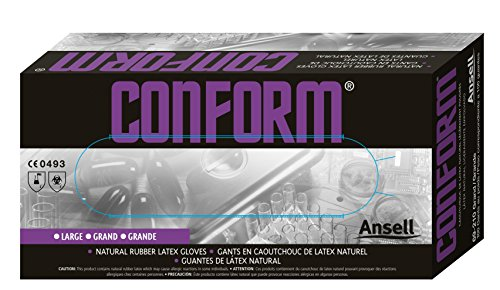 Ansell TouchNTuff 69-210 Gants en latex de caoutchouc naturel, protection contre les produits chimiques et les liquides, Naturel, Taille 8.5-9 (Boîte de 100 gants)