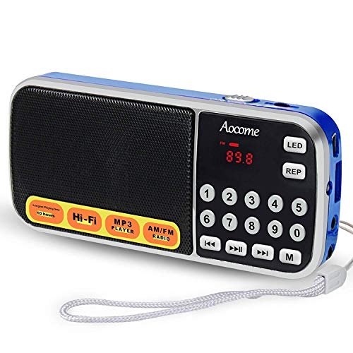compact fm radios AM FM Portable Pocket Radio Battery Operated - with Best Reception. AM FM Compact USB Rechargeable Radios Music Player Support Micro SD/TF Card Slot (Blue)