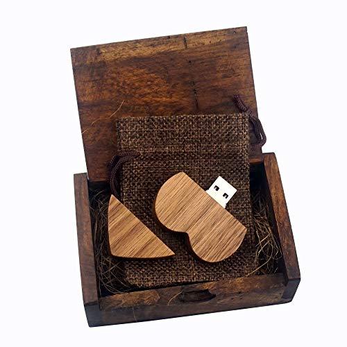 LUCKCRAZY Chiavetta USB 2.0 per matrimonio, compleanno, in legno, a forma di cuore, con confezione regalo
