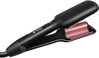 Hair Curler, Hair Crimper Hair Deep Waver Curling Iron LCD Dual Voltage Ceramic Barrel Beachy Wavy Curler,Black