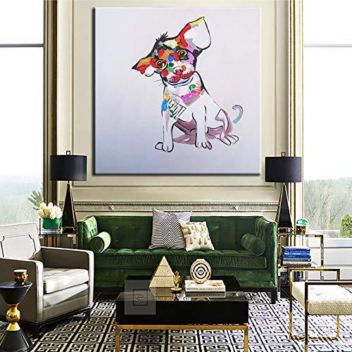 SUMIANYH 100% handgeschilderde olieverfschilderij handgeschilderd olieschilderij dier kleine schattige hond modern sterrenbeeld cartoon restaurant slaapkamer kinderkamer hal sterrenbeeld muur hangende decoratieve keer 65×65cm
