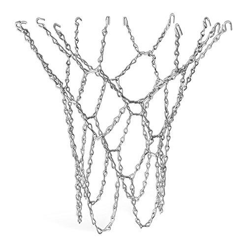 TRIXES Robusta Rete da Pallacanestro Argentata in Metallo, Rete con Catenella Molto Resistente, Sostituzione Tramite Ganci a S con Anello di Misura Standard.