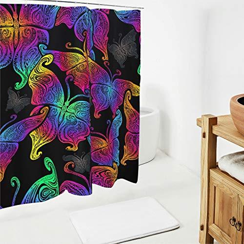 Charzee Butterfly Bedruckt Duschvorhänge Modern Wasserdicht Vorhang Bad Vorhang für Badezimmer Badewanne White 180x180cm