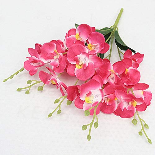 YSQSPWS Artificial flowers Artificial Flower Bouquet Phalaenopsis Dancing Orchid Wedding Home Decor Ornaments Flower Arrangement Silk Flower Environmental protection (Color : A Rose red)