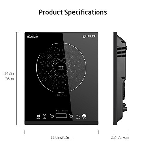 Portable Induction Cooktop, iSiLER 1800W Sensor Touch Electric Induction Cooker Cooktop with Kids Safety Lock, Countertop Burner with Timer, 9 Power Levels Suitable for Iron, Stainless Steel Cookware