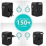 Lencent Reiseadapter/Reisestecker für 150+ Länder, Universal Adapter, UK England/USA/EU Deutschland/AUS Stecker mit 2 USB Steckdosenadapter Stromadapter Steckdose - 2