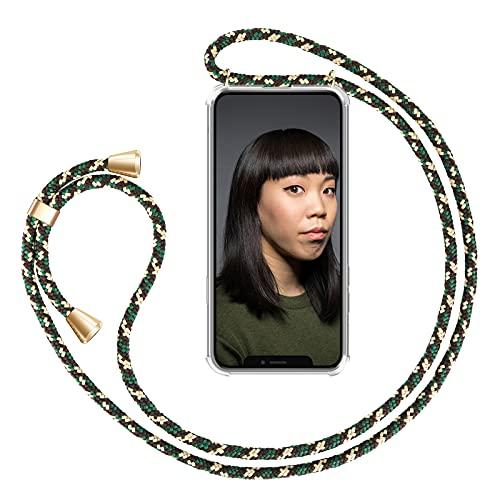 ZhinkArts Cadena para Teléfono Móvil Compatible con Apple iPhone 11 Pro MAX - Funda con Collar de Cordón para Smartphone - Carcasa con Correa para Celular para Llevar - Verde Camuflaje