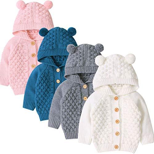 Hailouhai herfst winter pasgeboren baby meisjes breien lange mouwen hooded trui cartoon beer oor vest bovenkleding