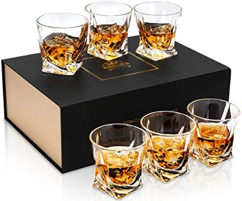 KANARS Twisted Rocks Glasses with Unique Gift Box 10 Oz Crystal Whiskey Glass for Bourbon Scotch product image