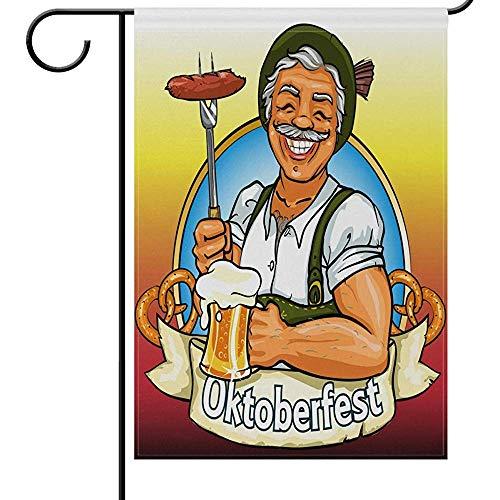 N/A Oktoberfest Denver Beer Fest Willkommen House Flags 12 * 18 Prost Lächelnder Mann mit Bierwurst...