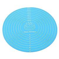 Flybloom キッチン生地マットシリコンデコレーションテーブルマットシリコンベーキングマット測定機能付き(スカイブルー)