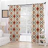 Toopeek - Cortinas opacas para dormitorio, diseño tribal tradicional, tres capas, trenzadas de reducción de ruido, 96 x 96 I