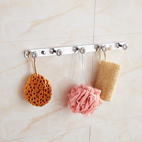 MBYW moderne hoge dragende handdoek rek badkamer handdoek rail Opslag plank Handdoek haak badkamer haak haak handdoek haak haak achter de deur Phoenix haak koper keukenhaak, chroom 5 haak