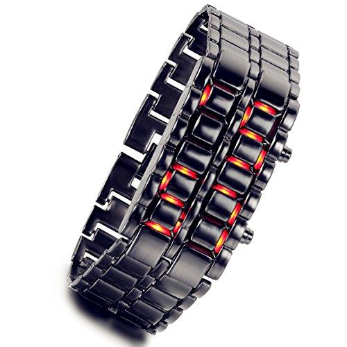 Lancardo Orologio da Polso con Cinturino in Lega Lava Stile Ferro Samurai Nero Bracciale LED Digitale Rosso