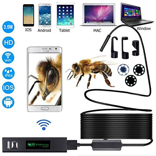Lychee WiFi Endoscopio Wireless Impermeabile IP68 Telecamera Ispezione, 8 LED Luminosità Regolabile, 2.0 Megapixel 1200P HD Full Snake Camera per Android e iOS iPhone/Windows/Mac/PC (3.5M)