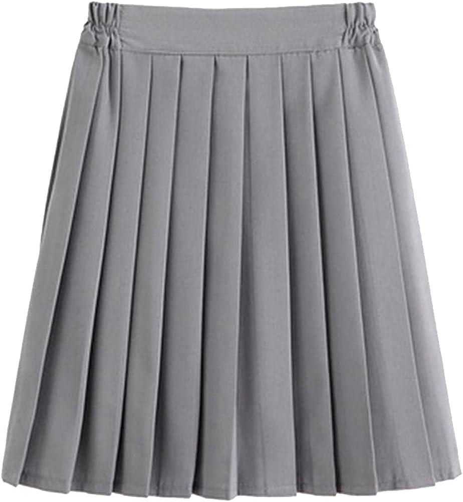 CHIC&TNK Elastic Waist School Uniform Solidcolor Jk Suit Pleated Skirt Short/Middle/Long High Dress Bottoms