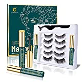 Magnetic Lashes, 5 Pairs Magnetic Lashes Natural Look, Eyelashes Magnetic, Lorchar Magnetic Eyelashes with Eyeliner Kit, Reusable & Waterproof (Black)