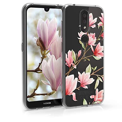 kwmobile Hülle kompatibel mit Nokia 4.2 (2019) - Handyhülle - Handy Hülle Magnolien Rosa Weiß Transparent