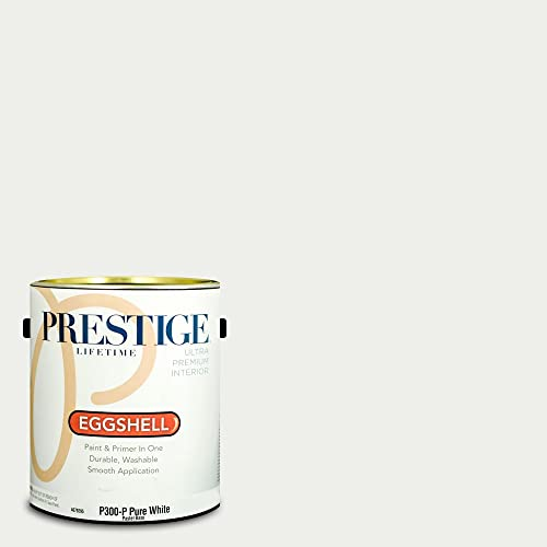 Prestige Paints P300-P-SW7006 Interior Paint and Primer in One, 1-Gallon, Eggshell, Comparable Match of Sherwin Williams Extra White, 1 Gallon, SW17-Extra