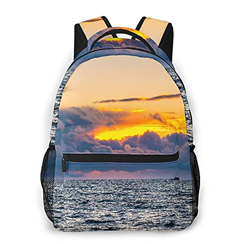 Zaino Multi leisure backpack,A Nova Scotia, Lobster Fishing Boat Arrives B, travel sports School bag for adult youth College Students