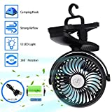 Camping Ventilador con Linterna LED, Ventilador de Cochecito con Clip a Batería recargable con Gancho para Colgar para Tienda, Ventilador pequeños silenciosose, Mini Ventilador para Camper Emergencias