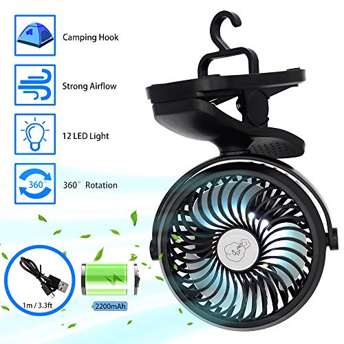 USB Table Fan, Portable Clip Stroller Fan with Lights, Mini Desk Fan Rechargeable Battery Powered, Quiet Cooling Fan with Hanging Hook, 3 Speed 360 Rotation for Baby Pram, Bedside Crib, Office, Camp