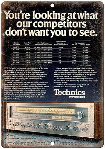 "Technics By Panasonic - Cartel metálico para pared, diseño retro con texto ""Iron Paint"", diseño vintage"