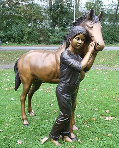 H. Packmor GmbH Bronzeskulptur Mädchen mit Pferd Pony Dekorationsfigur aus Bronze Gartenfigur