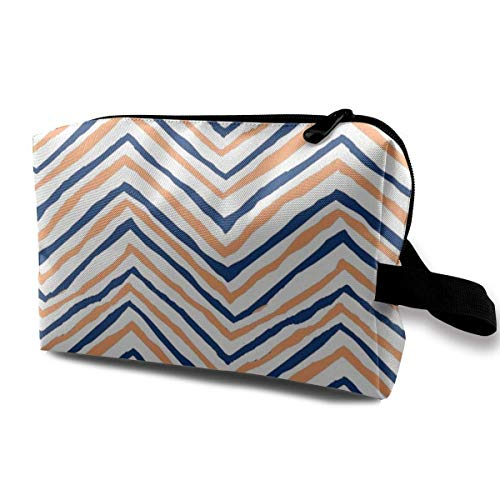 Navy Blue Orange Zig Zag Chevron Tigers Clemson Football_410 Makeup Bag Handbag Organizer With Zipper Nylon Womens Girls