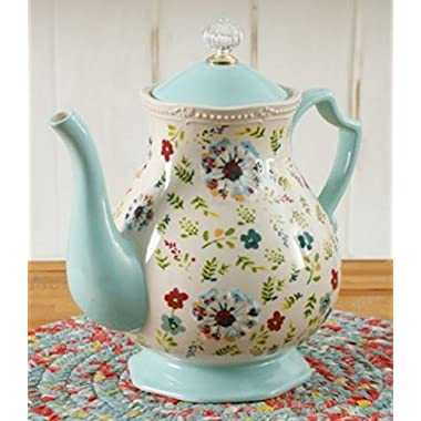 The Pioneer Woman Stoneware Kari 2.4 Quart Stylish Floral Tea Pot