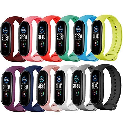 Acalder Correa para Xiaomi mi Band 5, 12 PCS Pulseras Reloj Coloridos Silicona Banda Reemplazo para Xiaomi Mi Band 5, Compatible con Mi Smart Band 5-12 Colors