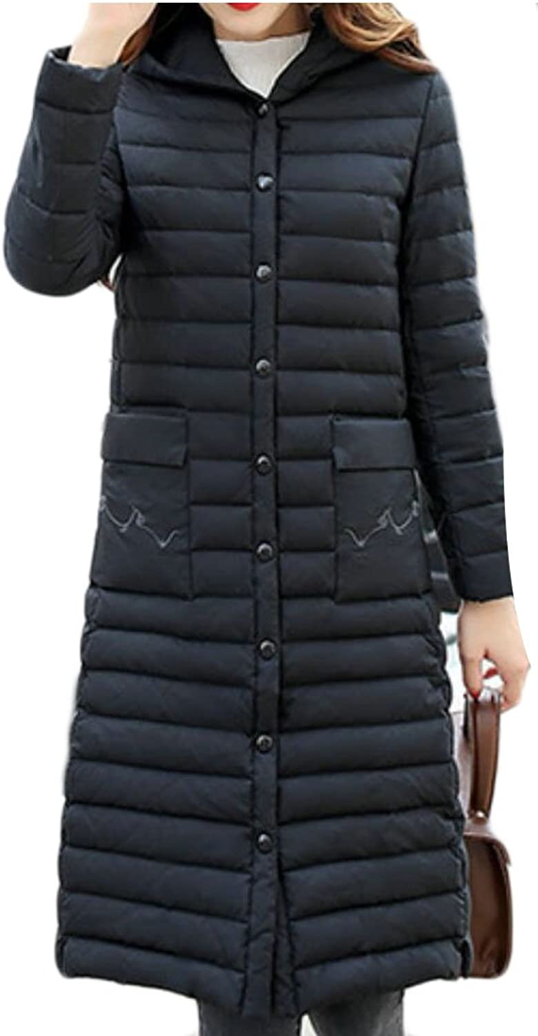 GAGA Women's Casual Hooded Long Sleeve Long Down Puffer Coats