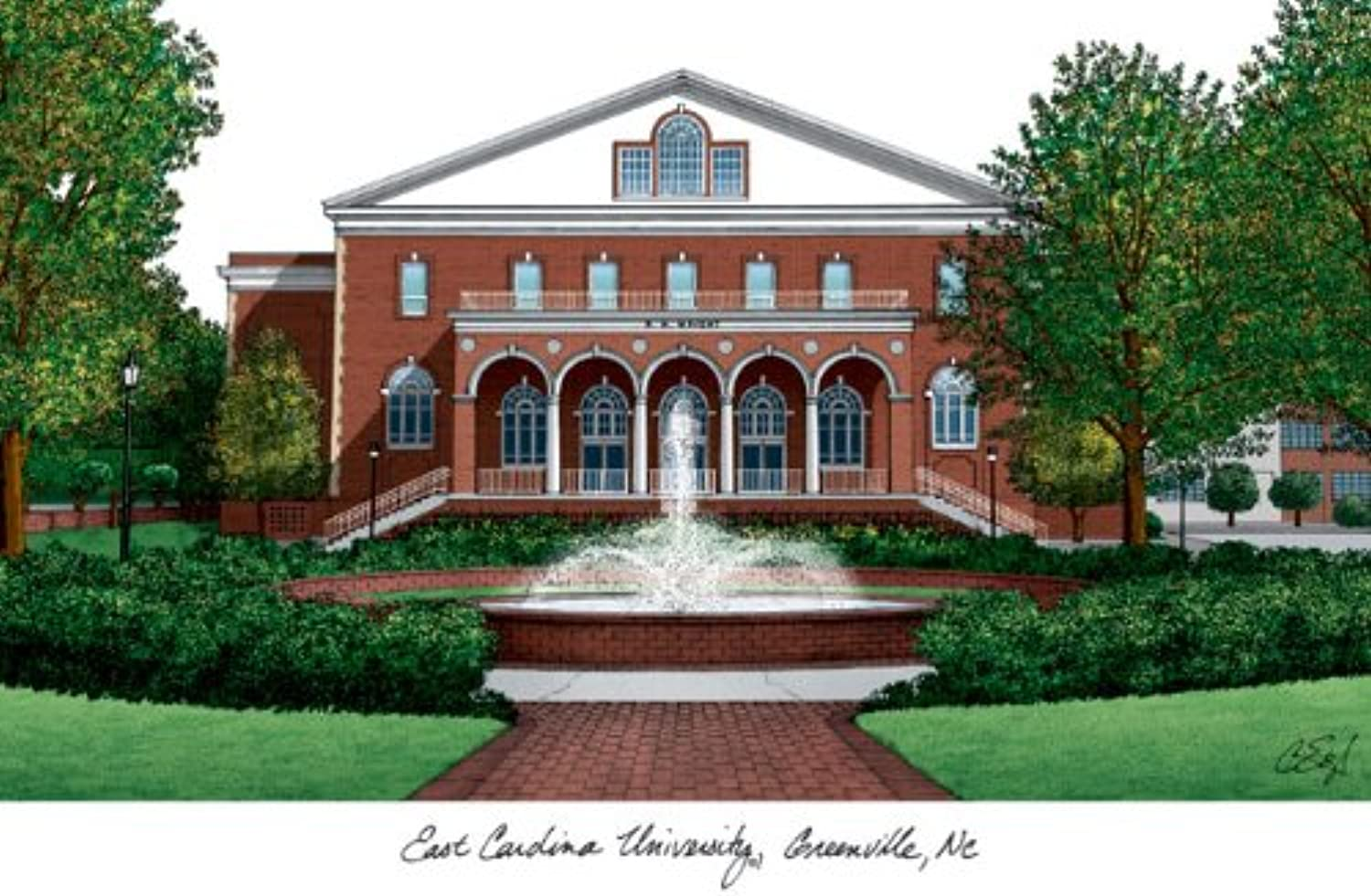 Campus Images East Carolina University Lithographic Print