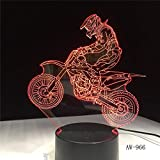3D Offroad Motorrad Fahrrad Nacht Remote Touch Illusion Tischlampe 7 Farbe USB ändern Tischlampe Nachtlicht Kinder Geschenk