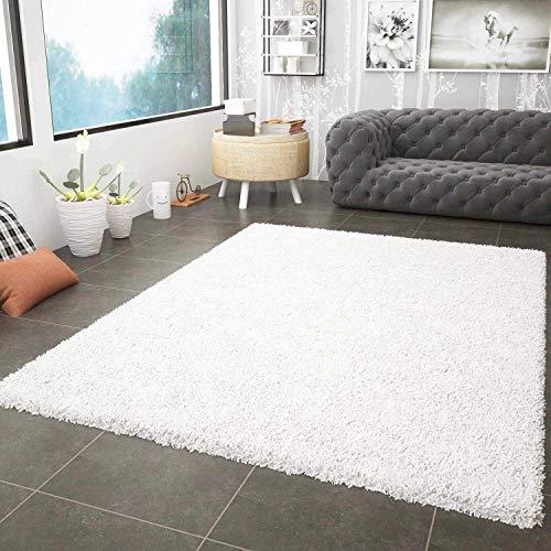 VIMODA Prime Shaggy Teppich Weiss Creme Hochflor Langflor Teppiche Modern, Maße:160x220 cm