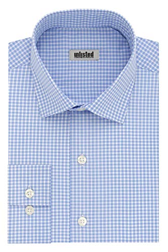 Kenneth Cole listados de los Hombres Slim Fit Check Camisa de Vestir de Cuello Abierto, Azul Claro, 15'-15.5' Cuello 32'-33' Manga