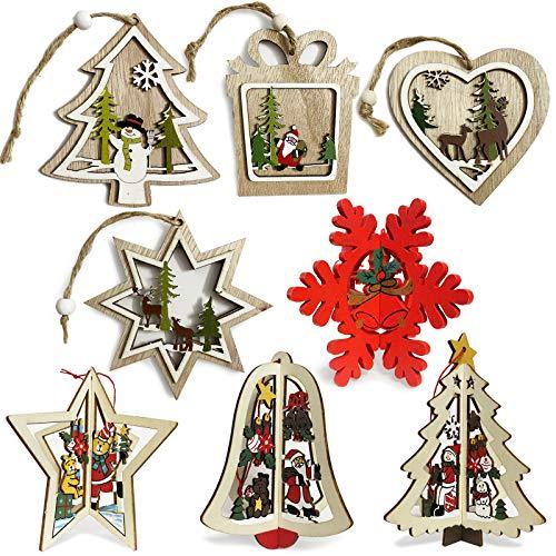 Set di decorazioni per albero di Natale, 8 pezzi, in legno, per albero di Natale, decorazione per albero di Natale da appendere, con design intagliato a forma di cava.