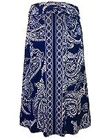 LEEBE Women's Plus Size Printed Maxi Skirt (1X-5X) (2X (18-20), Navy Paisley)
