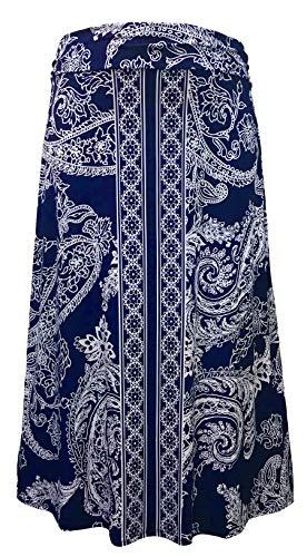 LEEBE Mujer Talla Grandes - Falda Larga Estilo Maxi (1XL-5XL) (2XL (50-52), Paisley Azul)