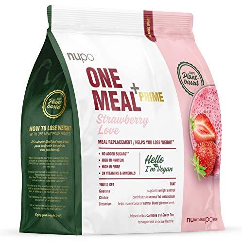 NUPO One Meal + Prime Vegan Powder Strawberry Love – Nahrungsersatz-Pulver zum Abnehmen I Klinisch geprüfter Mahlzeitersatz für effiziente Gewichtsabnahme I 360g I Eiweißhaltig & ohne Zuckerzusatz