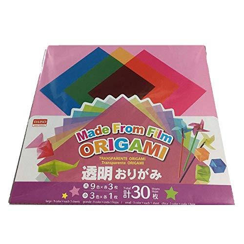 Daiso Japón - 30 hojas de papel de origami multicolor transparente, hecho de película, papeles plegados de polietileno, arte, proyectos artísticos, diversión, pasatiempos regalo de Ametsus.