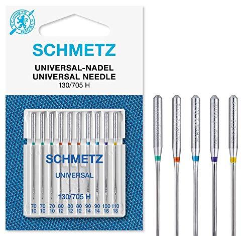 SCHMETZ Nähmaschinennadeln: 10 Universal-Nadeln, Nadeldicke 70/10-110/18, Nähset, 130/705 H, Standardnadeln, auf jeder gängigen Haushaltsnähmaschine einsetzbar