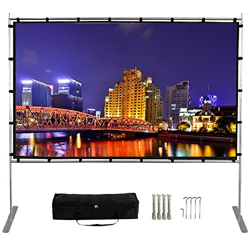 Projector Screen with Stand,120 Inch (16:9) HD 4K Outdoor Indoor Portable Projection Screen Fast Folding Movie Screen with Stand Legs and Carry Bag Suit for Home Theater 3D Camping Meet (120inch)