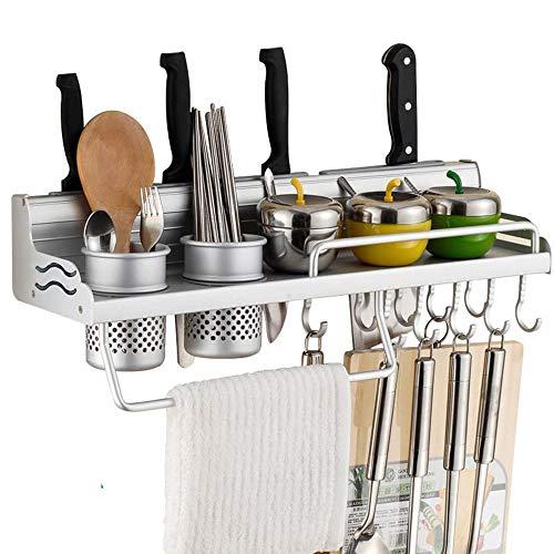 Estante de pared para ollas, para colgar en la pared de la cocina, con ganchos para colgar botellas o toallas