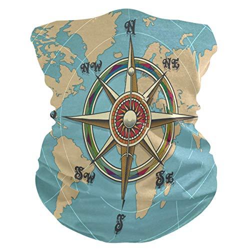 asdew987 Diadema clásica clásica con brújula del mundo, bandana, máscara de cuello, bufanda mágica para pasamontañas, para mujeres, hombres, niños y niñas